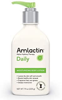 AmLactin Daily Moisturizing Body Lotion | Instantly Hydrates, Relieves Roughness | Powerful Alpha-Hydroxy Therapy Gently Exfoliates | Smooths Rough, Dry Skin | Paraben-Free 7.9 Ounce (Pack of 1)