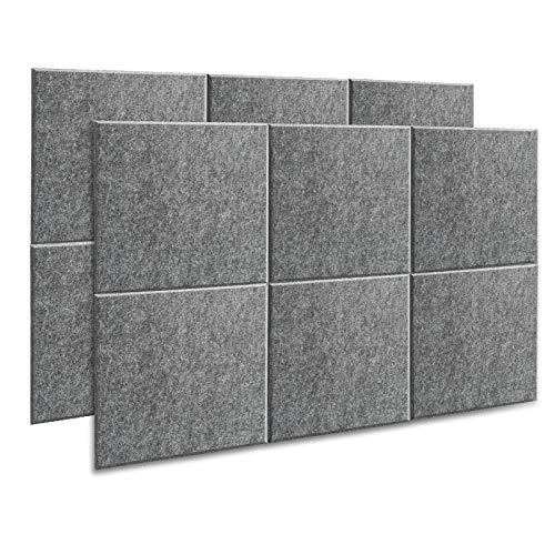 AGPtEK Panel Acústico, 12 Paneles de Absorción Acústica 30 * 30 * 1 cm Paneles de Aislamiento Acústico de bordes biselados, de Alta Densidad, excelentes para el hogar y oficinas, gris oscuro