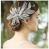 HONEY BEAR donna clip pettine per capelli,gioielli da sposa,accessori per capelli sposa,gioielli a forma di fiore con finte perle e strass (Foglia di filato)
