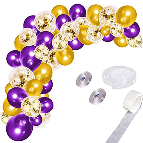 LUDEOU Balloon Garland Arch - 121pcs 12inch gold and purple party balloon, gold confetti balloons latex balloon with balloon accessories, suitable for Baby Baptism wedding graduation party decoration