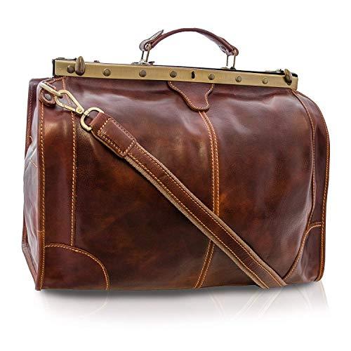Vintage Italienische Echt Geöltes Leder Arzttasche, Reisetasche, Wochenendetasche, (Marrone (L) 47x31x21)
