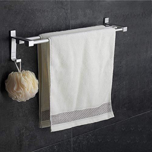 Wangel Doppel-Handtuchstange Handtuchhalter ohne Bohren 40cm Patentierter Kleber + Selbstklebender Kleber Aluminium Matte Finish