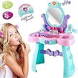 BAKAJI Specchiera Make Up Giocattolo Bambina con Luci Suoni Gioielli e Accessori Gioco Bellezza Dimensione 66 x 44 x 28 cm