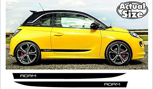 SUPERSTICKI Opel Vauxhall Adam Seitenstreifen Racing Stripes Rallyestreifen Sport beidseitig Aufkleber Autoaufkleber Tuningaufkleber Hochleistungsfolie für alle glatten Flächen UV und Waschan