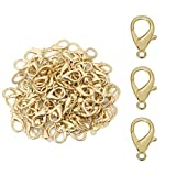 100 Lobster Clasps Gold Stainless Steel Clasps Curved Lobster Claw Clasps, 21 mm Lobster Claw Clasps for DIY Jewelry Making and Keychain
