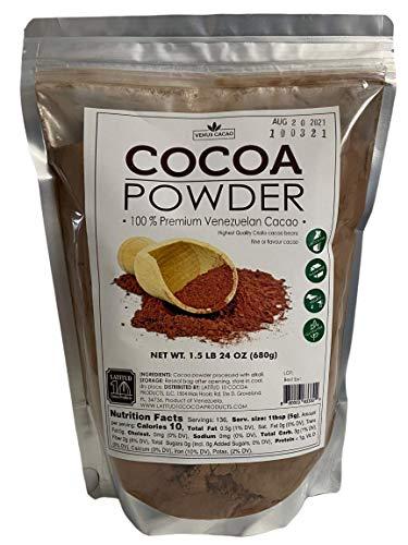 Venezuelan Gourmet Cocoa Powder 24Oz Dutch Processed, Vegan, Sugar Free, Gluten Free, Non GMO, Baking, Finest Aroma and Flavor, 1,5 Lb