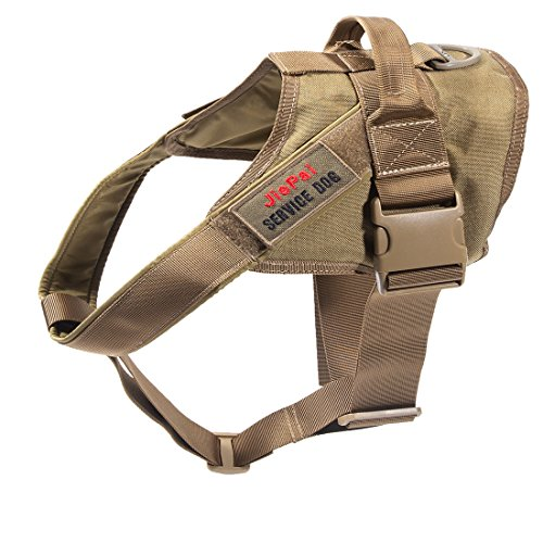 JiePai Tactical Dog Harness Military Training Patrol K9 Service Dog Vest Adjustable Working Dog Vest with Handle for Small Large Dogs (Coyote Brown,L)