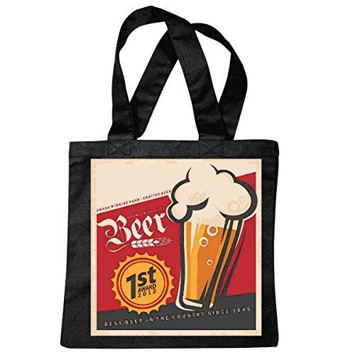 Tasche Umhängetasche Bier WEIZENBIER BIERGLAS Oktoberfest Bier Wodka Schnaps Wein Alkohol Rotwein WEIßWEIN LIKÖR Einkaufstasche Schulbeutel Turnbeutel in Schwarz