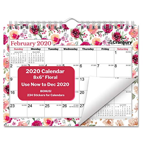 Small 2020 Calendar (Floral) 8x6, Use Now to December 2020, Monthly Wall Calendar, Hanging Mini Bulletin Board Calendar with Stickers for 2019-2020 Calendar