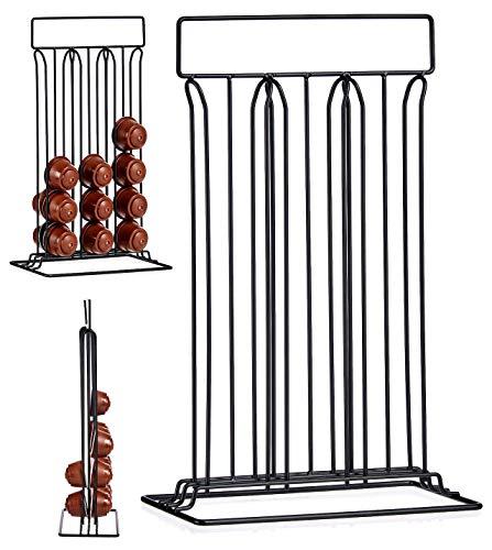 TIENDA EURASIA® Dispensador de Cápsulas Nespresso/Dolce Gusto - Capacidad para 36 Cápsulas - Fabricado en Acero Negro Mate (Dolce Gusto 10 x 38 x 24,8 cm)