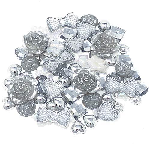 Wedding Touches 80 Mix Silver Shabby Chic Resin Flatbacks Craft Cardmaking Embellishments