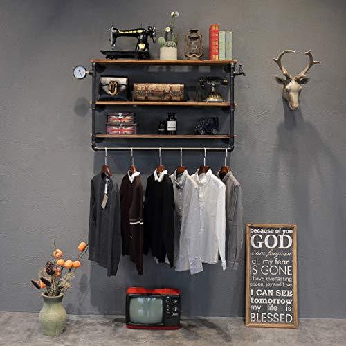 ZfgG Portemanteau Vintage en Fer, Crochet pour étagère Murale en Bois Massif combiné, Chambre/Bureau/Boutique de vêtements, Noir