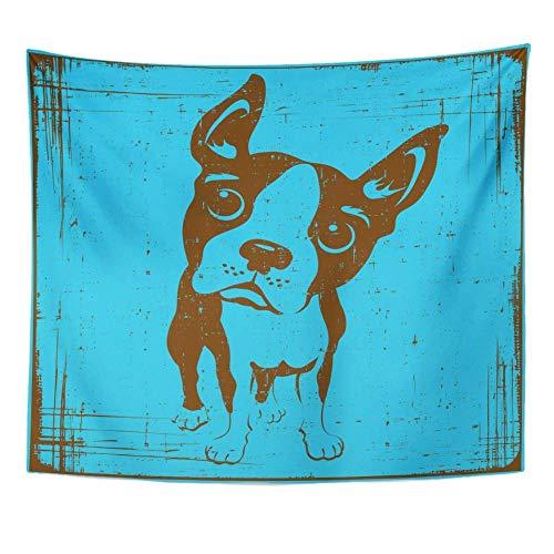 Breeds Blue Vintage Cartoon of Boston Terrier Dog con Grunge divertido dibujo tapiz frontal decoración del hogar colgante de pared para vivir 180x180cm