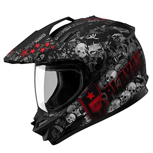 Casque moto hommes et femmes cross country casque tirer casque racing locomotive casque intégral (taille : XXL61-62CM)