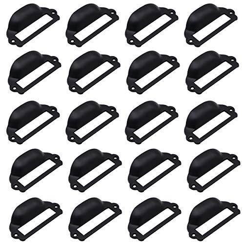 LepoHome 20 Stück 82 x 40 mm schwarze Kartenhalter für Schubladen / Etikettenrahmen / Etikettenrahmen / Schrankrahmengriff / Namenskartenhalter für Büromöbel Schrank Schubladen Box Hardware