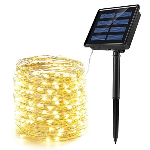 Citra Solar Fairy String Lights, 50 LED Fairy Lights 3 Modes 3-Strands Copper Wire 5m Waterproof...