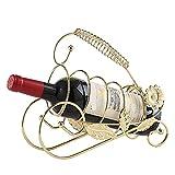 Soporte para Vino con Forma de Girasol, Mesa de Metal Retro, Estante de exhibición para gabinete de Botella de Vino Independiente para decoración de la Cocina del hogar, Dorado