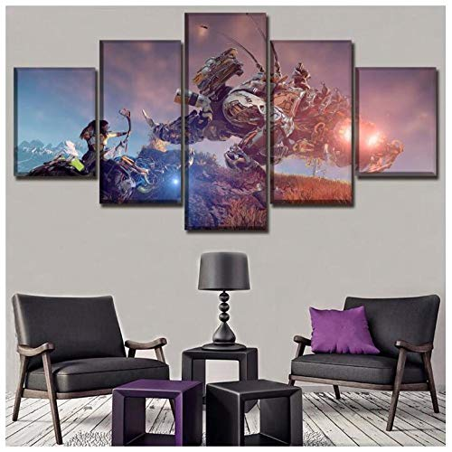 LCCWLH Leinwanddrucke 5 Stücke Aloy Thunderjaw Robot Dinosaurier Spiel Horizon Zero Dawn Hd Gedruckt Wandkunst Home Dekorative Kein Rahmen (Größe A)