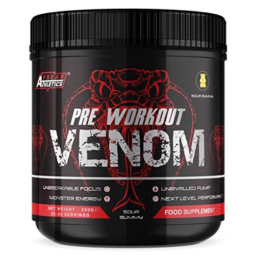 Pre Workout Venom 'Sour Gummy' - Pump Pre Workout Supplement by Freak Athletics - Elite Level Pre Workout Supplement - Pre Workout Powder Made in The UK - Available in Sour Gummy