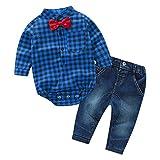 De feuilles Chic-Chic Ensemble Garçon Bébé 2pc Combinaison Chemise Carreau + Pantalons Jeans Pull Longues Manches Haut Bleu 6-12mois