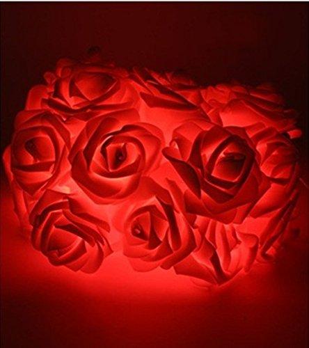 Rose Fleur Fairy Lights, Morbuy 20LED/30LED/40LED/50LED Rose Flower Fairy String Lights pour Le Festival de Mariage Garden Party Articles de décoration de Noël (5M/50LED, Rouge)