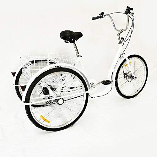 Triciclo de 3 ruedas de 6 velocidades para adultos de 26 pulgadas, con cesta de la compra, color blanco