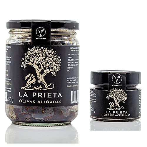 Aceitunas Prietas negras deshidratadas Kalamata española 100% + Pate de Aceitunas Prietas Tapenade Olivada (PACK 2)