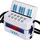 Acordeón infantil Botón 17 Teclas de Kid acordeón for niños de más de 6 años Kid Instrumento principiante for el Desarrollo Infantil Temprano Pequeño acordeón ( Color : Azul , Size : 23x10x23cm )