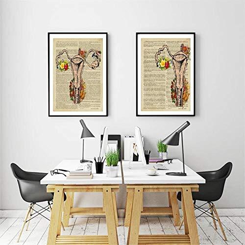 Juabc Anatomie Anatomische Gebärmutter Vintage Plakate und Drucke Weibliches Fortpflanzungssystem Gebärmutter Leinwand Kunst Malerei Porträt Fruchtbarkeitsgeschenke 50x70 cm Kein Rahmen
