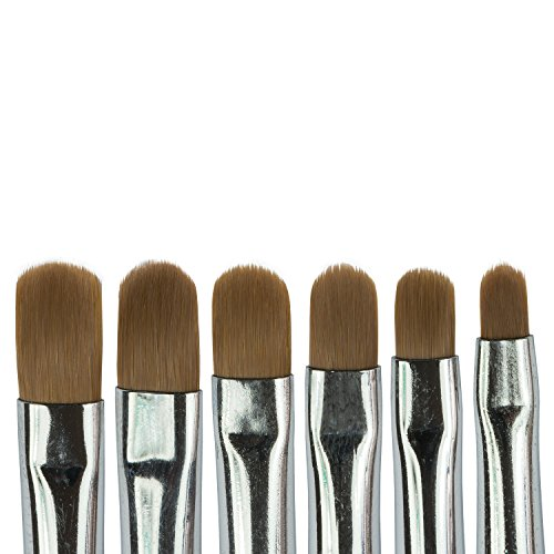 N&BF Profi Gel Pinsel 6er Set | Griff Rosa - Pink | Nagel Studio Pinsel Rotmarder Haar | Nailart Pinsel für Nageldesign | Kolinsky Brush Acryl & Gel Modellagen | Premium Echthaar-Pinsel