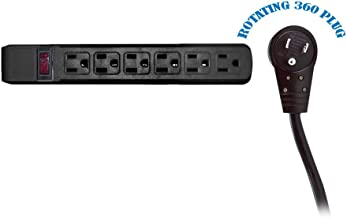 6 Outlet Surge Protector 15A 120V with Flat Rotating Plug 15ft Power cord 3 Prong 6 Outlet Power Strip with 15 Feet Power Cable and 360 Degree Rotating Plug, Black CNE471094