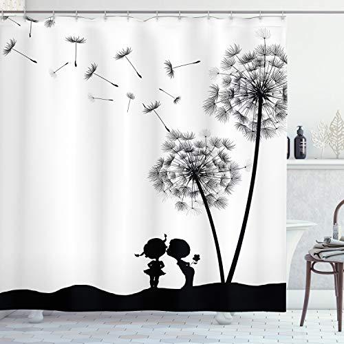 ABAKUHAUS Duschvorhang, Löwenzahn Blüte Welcher Sich auflöst Schwarz-Weiß Wo Zwei Kinder Küssen Digitales Kunstdruck, Blickdicht aus Stoff inkl. 12 Ringe für Das Badezimmer Waschbar, 175 X 200 cm