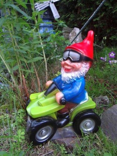 Gartenzwerg auf Quad aus bruchfestem PVC Zwerg - Made in Germany Figur