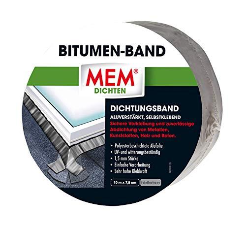 MEM Bitumen-Band blei - 7,5 cm x 10 m - Vielseitig einsetzbares Dichtungsband - Flexibel- UV-beständigen Schutzfolie - Witterungsbeständig - Selbstklebende Oberfläche - 30836582