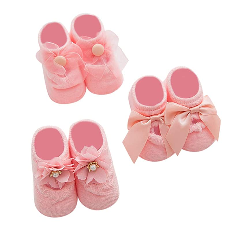 Lurryly?3 Pairs Baby Socks Non Skid Slip Lace Floral Socks for Girls Boys Toddlers Kids 1-3T