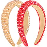 2 Pieces Crystal Rhinestone Headbands Crystal Embellished Crystal Headband Velvet Padded Wide Hairbands Party Wedding Headpiece Hair Accessories for Women (Red, Champagne)