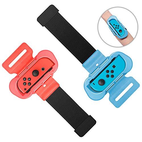 MENEEA Cinturini da Polso per Nintendo Switch Just Dance 2021 2020 2019 Gioco, Cinturino Elastico Regolabile per Controller JoyCon, Due Taglie per Adulto e Bambino, Confezione da 2 (Rosso e Blu)