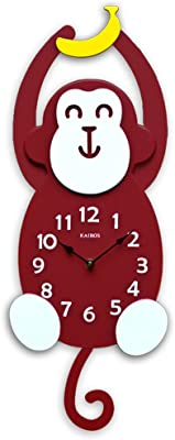 TIANTA- Smile monkey wall clock creative minimalist solid wood frame mute seconds movement childrens room