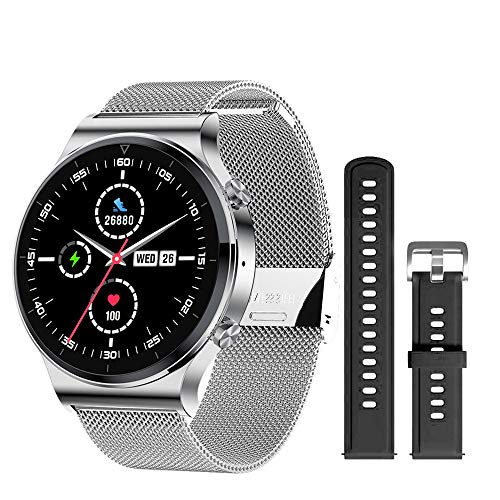 Reloj inteligente con llamada Bluetooth para hombre S-600 IP68, impermeable, pantalla táctil completa, deportivo, fitness, cara personalizada para Android IOS (color plateado Bd)