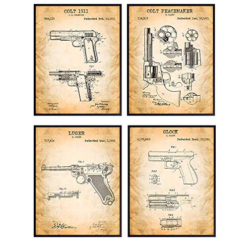 Famous Handgun Wall Art Patent Prints - Unframed Set of Four - Great Gift for Gun and Firearm Enthusiasts - Man Cave Home Decor - Ready to Frame (8x10) Vintage Hand Gun Photos