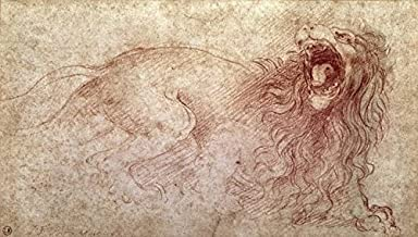 Wall Art Print entitled LEONARDO DA VINCI - SKETCH OF A ROARING LION (RED by Celestial Images | 10 x 6