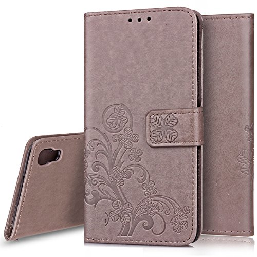 Ukayfe Custodia LG X Power, Flip Cover Wallet Case Custodia in Pelle PU con Trifoglio Disegno con Super Sottile Morbido Silicone TPU Interno Case Protettiva Cover Copertura per LG X Power-Grigio