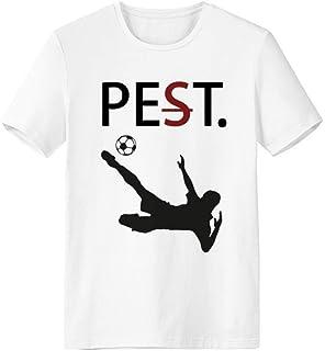 CaoGSH T-shirt à manches courtes avec silhouette de football Blanc