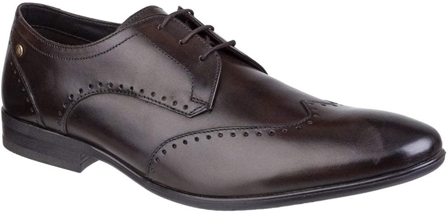 Base London Buckingham Mens Leather Wing Tip shoes Washed Brown