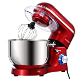 Aucma Stand Mixer,6.5-QT 660W 6-Speed Tilt-Head Food Mixer, Kitchen Electric Mixer with Dough Hook, Wire Whip & Beater 2 Layer Red Painting (6.5QT, Red)