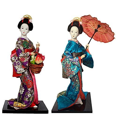 KJWXSGMM Japonés de 12 Pulgadas Japonés Kimono Muñeca 30 cm Muñeca de Kimono asiático Regalo de decoración de estatuilla de colección, 2 Piezas,B