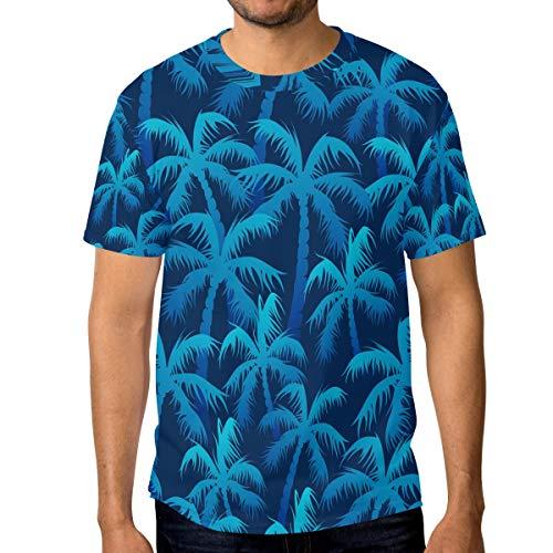Camisetas para hombre Tropical Blue Palm Tree Forest Personalizadas Verano Casual Tee Shirts