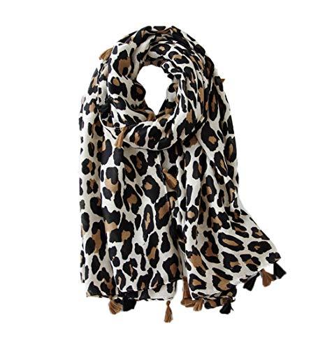 KRUIHAN Frauen Weichen Langen Hals Schal - Damenmode Leopard Tiermuster Cape Abendgesellschaft Stilvolle Accessoires mit Quaste Beige