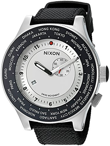 Nixon Men's 'Passport' Swiss Quartz Stainless Steel and Nylon Watch, Color:Blue (Model: A3211433)