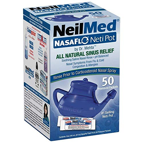 2 Pack NasaFlo Sinus Health Neti Pot with 50 Premixed Packets-by NeilMed